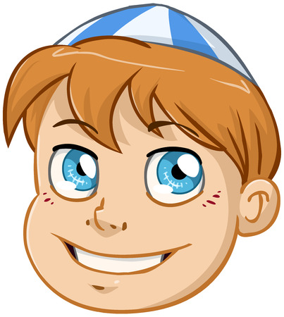simchat torah: illustration of a Jewish boys head with kippah. Illustration