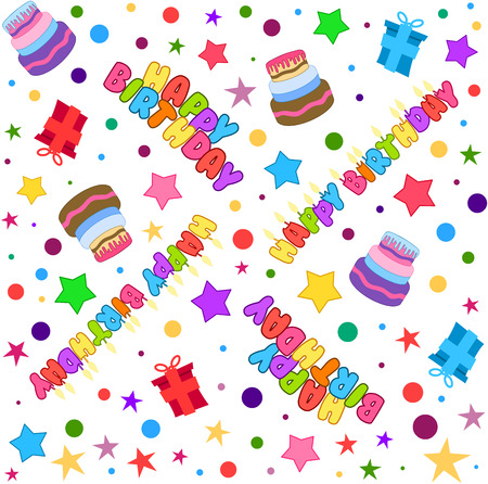 illustration pattern of colorful Happy Birthday text cake presents and stars.