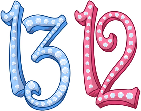 twelve: illustration of the numbers twelve and thirteen.