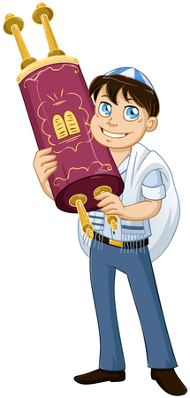 bar mitzvah: illustration of a Jewish boy with talit holds the Torah