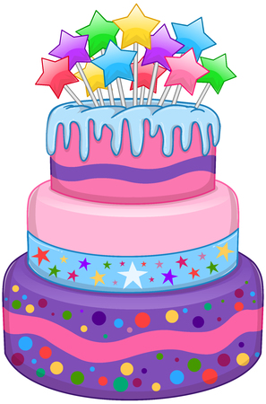 illustration of 3 tiers birthday cake with colorful stars on top.