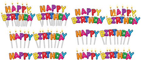 illustration set of colorful Happy Birthday text on stick and candles. Illustration
