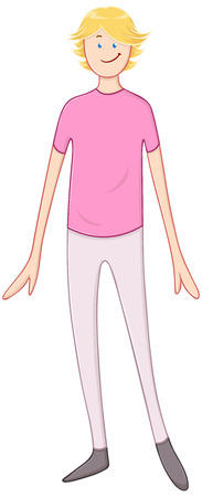 guy standing: illustration of a blond guy in pink shirt standing and smiling.