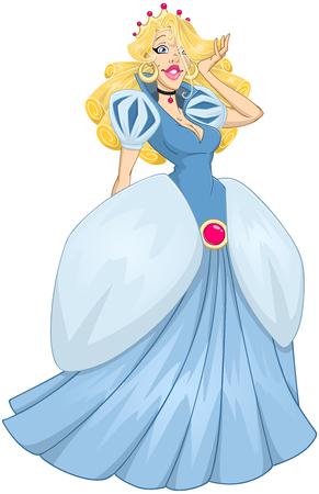 illustration of princess Cinderella in blue dress. Illustration