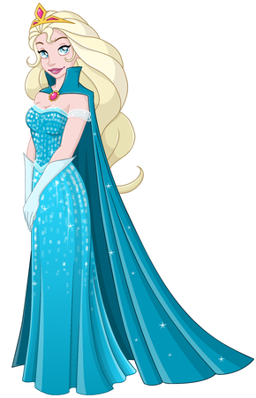 snow queen: illustration of a snow princess queen in blue dress and cape.