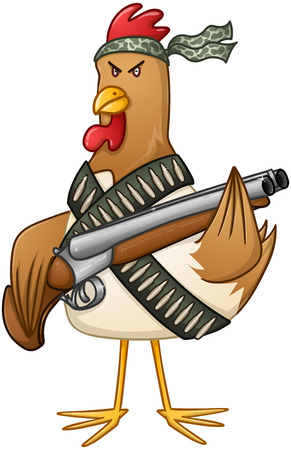 fighters: illustration of a mad rooster with shotgun and bullets.