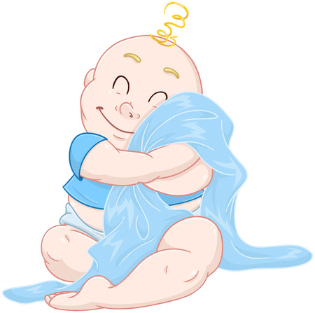 blanket: illustration of a cute baby boy hugging a blue blanket.