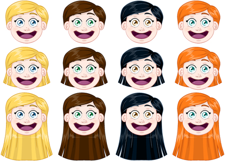 long tongue: illustration pack of cute girl heads.