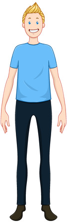 young man jeans: illustration of a blond guy standing and smiling.