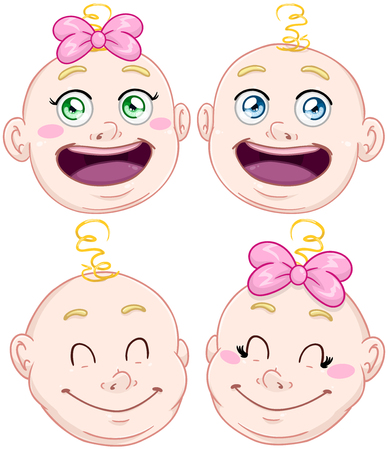 illustration pack of baby boy and girl heads. Illustration