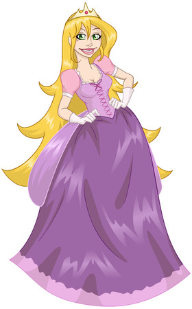 illustration of princess with her long hair in pink dress.