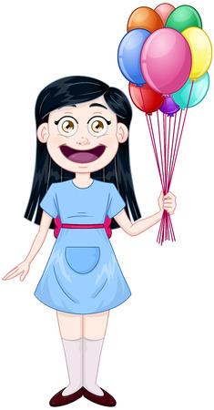 illustration of a cute girl holding balloons. Illustration