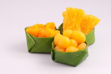 banana leaf: El postre dulce en la taza de hoja de pl�tano