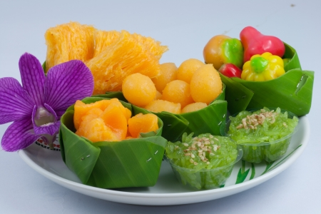 thai dessert: The colorful of sweet dessert in the dish