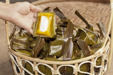 banana leaf: Calabaza dulce en hoja de pl�tano