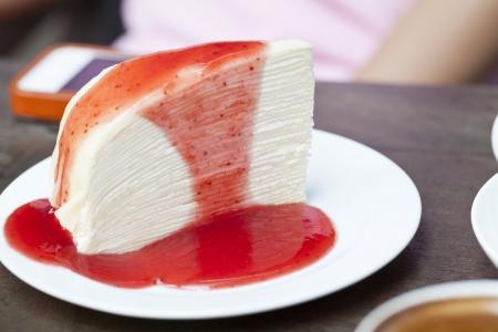 Cheesecake with strawberry sauce Stock Photo - 15364407