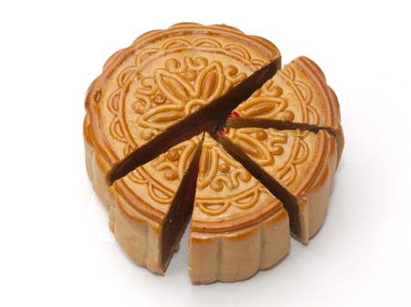 Mooncake isolated on the white background photo