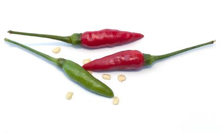 padi: Bird chili isolated on the white background Stock Photo