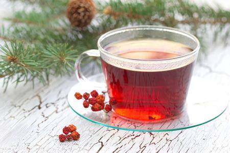 Cup of tea in winter 写真素材