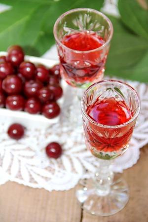 liqueurs: Cherry liqueur and fresh cherry