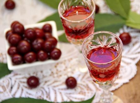 Kersenlikeur en verse cherry