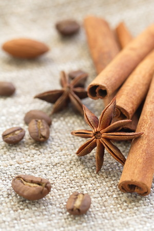 anise: Cinnamon, anise and nuts Stock Photo