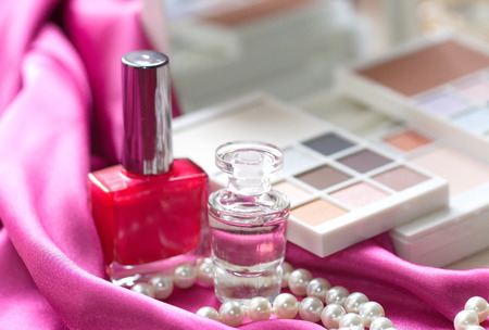 Different cosmetic products for beautiful woman photo