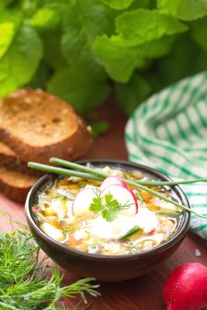 okroshka: Russian cold soup okroshka