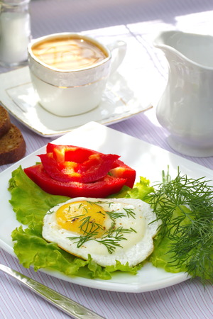 fried eggs: Fried eggs with vegetables and coffee for your breakfast
