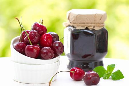 cherry: Fresh cherries and cherry jam