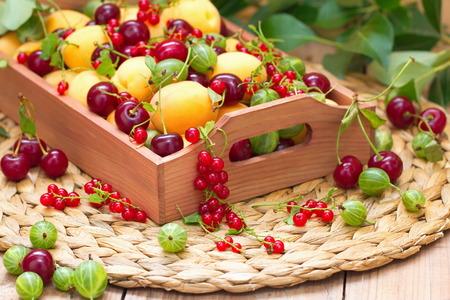 Basket of fresh fruit and berries in summer