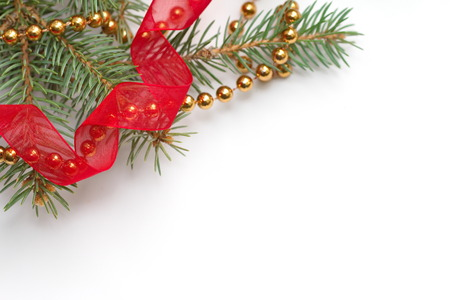 new year eve beads: Christmas background with fir tree and decoration