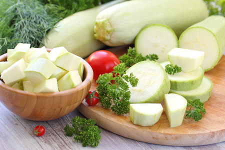 vegetable marrow: Fresh vegetable marrow and other vegetables for cooking Stock Photo