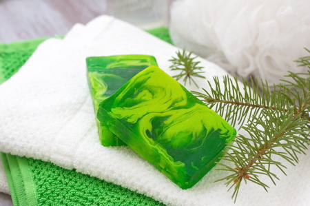 cream and green: Soap with coniferous aroma