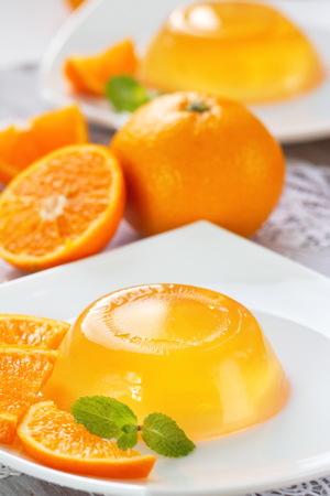 fruit jelly: Fruit jelly with fresh oranges Stock Photo