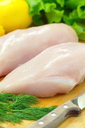 chicken fillet: Raw chicken fillet prepared for cooking