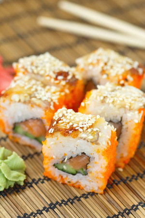 philadelphia roll: Delicious sushi rolls on the table