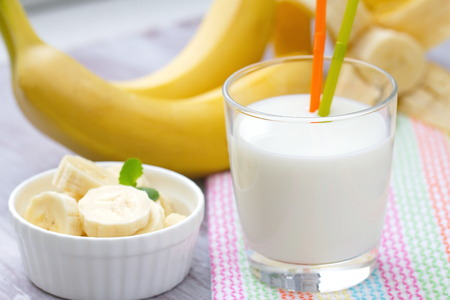 fruit shake: Banana milk shake in a glass