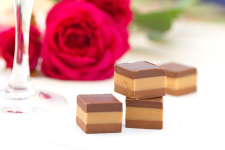 sweet segments: Chocolate and red roses for present
