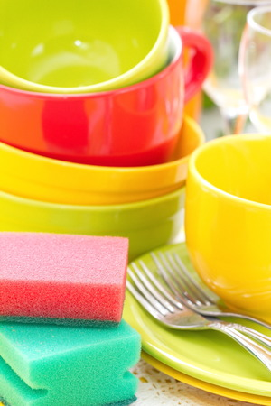dishware: Dishware in the kitchen. Wash and cleaning.