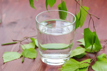 Glass of clean fresh water on natural background