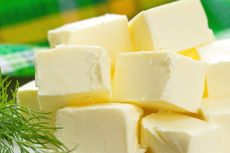 butterfat: Fresh butter on the table