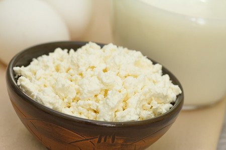 cottage cheese: Fresh cottage cheese in bowl Stock Photo