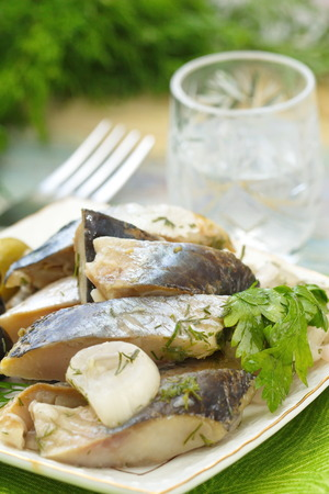 seafish: Snack with herring fillet and glass of vodka