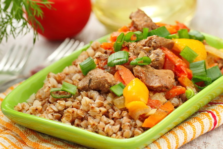 Healthy food. Buckwheat with meat and vegetables.