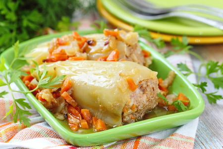 Delicious baked peppers stuffed with meat, rice and vegetable Stock Photo