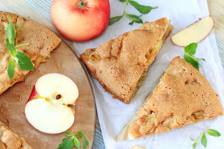 charlotte: Apple pie and fresh fruit on the table