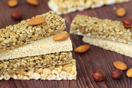 seeds of various: Gozinaky. Various honey bars with peanuts, sesame and sunflower seeds