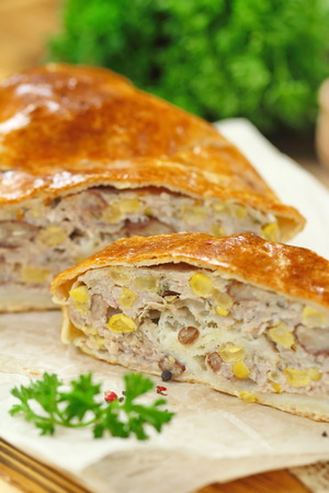 Homemade meat pie with haricot and sweet corn