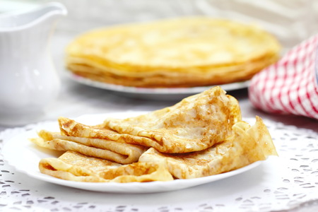 Classic pancakes with butter on a plate Stock Photo